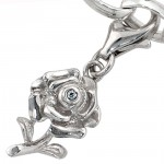 Charm Anhänger Rose 925 Sterling Silber mit 1 Zirkonia, Charms Bettelarmband