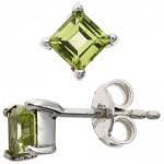 Ohrstecker 925 Sterling Silber rhodiniert 2 Peridote Ohrringe