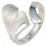 Ring Ginko Damenring, 925 Sterling Silber teilmattiert, Fingerring, Gingkoring