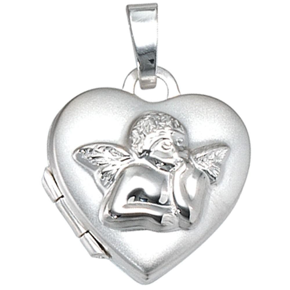 Kettenanhänger  Anhänger Medaillon Herz mit Engel 925 Sterling Silber Schmuck ...