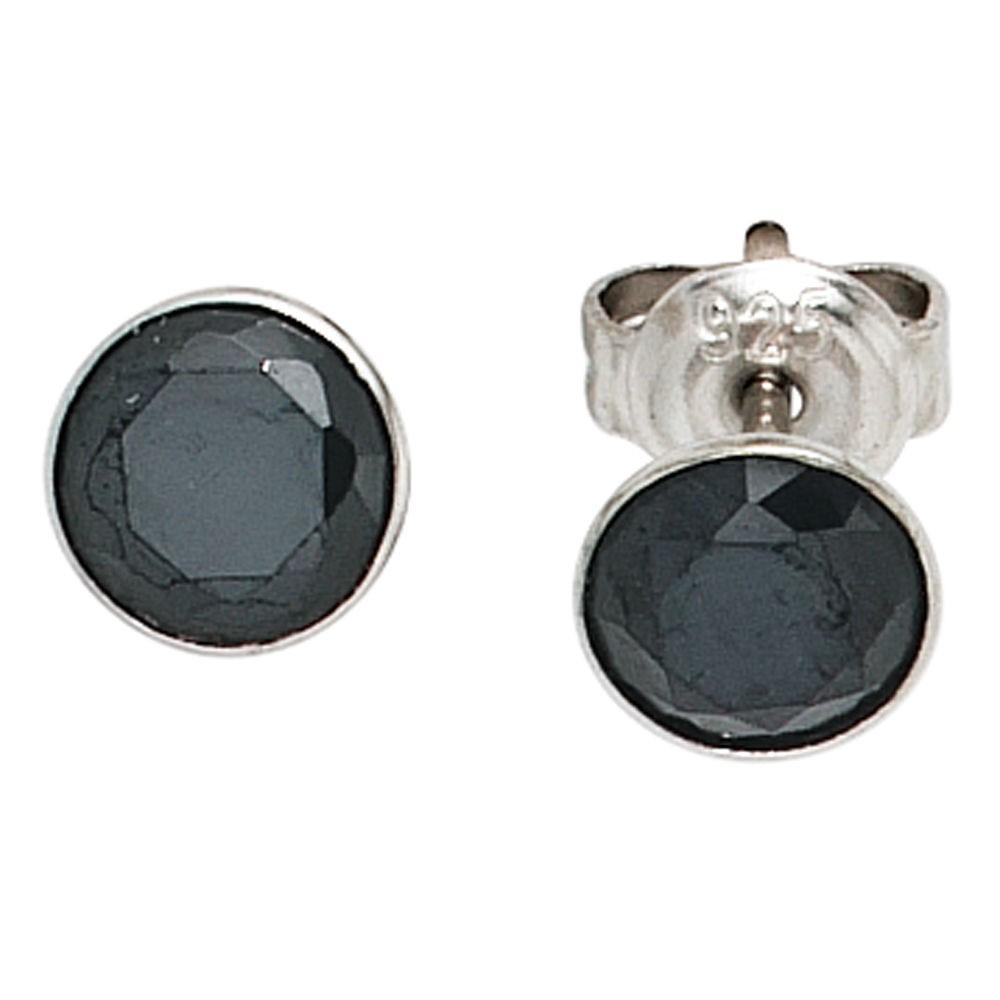 Ohrringe schwarz  Ohrstecker rund mit Zirkonia schwarz, 925 Sterling Silber Schmuck ...