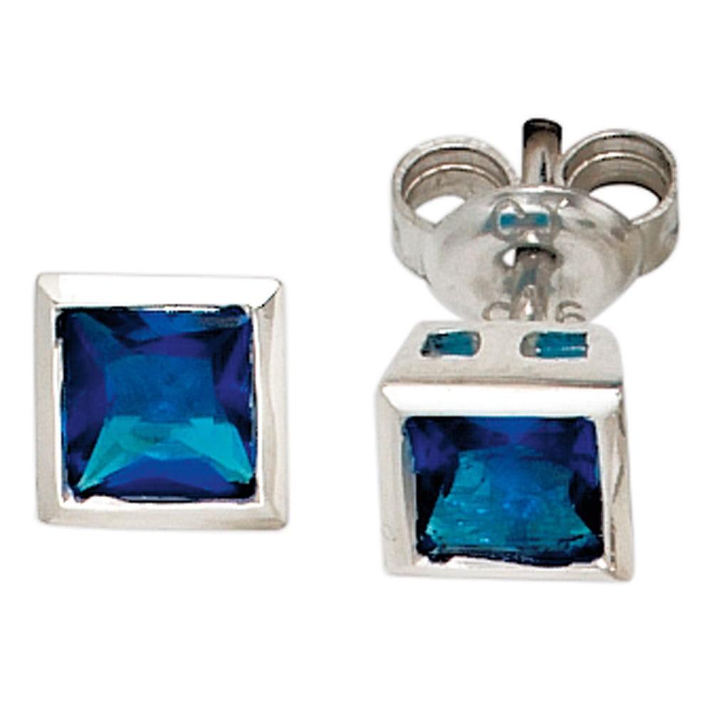 Ohrstecker silber mit blauem stein