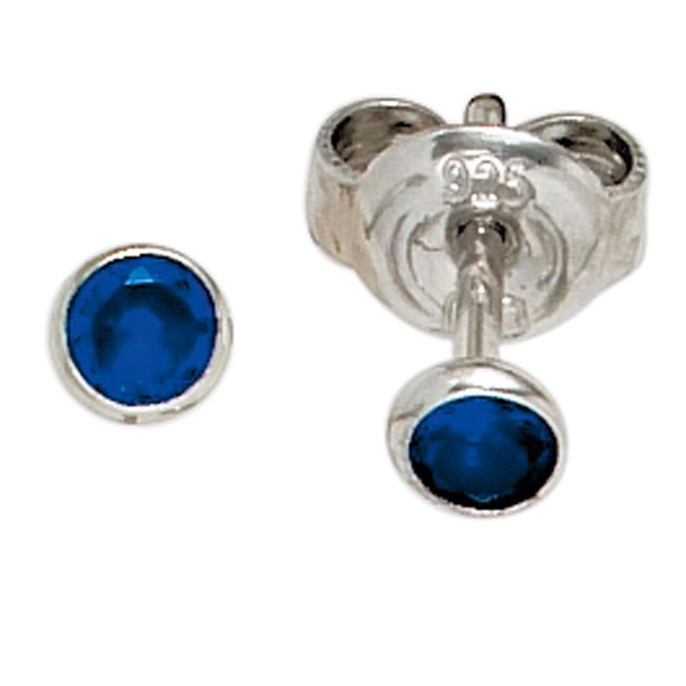 Silberschmuck ohrstecker  Ohrstecker rund, klein mit Zirkonia blau, 925 Sterling Silber ...