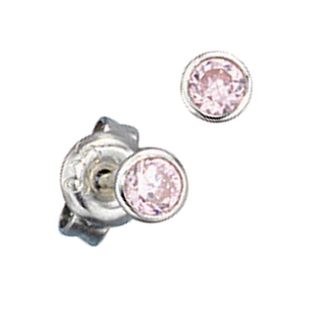 Silberschmuck ohrstecker  Ohrstecker klein, runde Ohrringe mit rosé Zirkonia, 925 Sterling ...