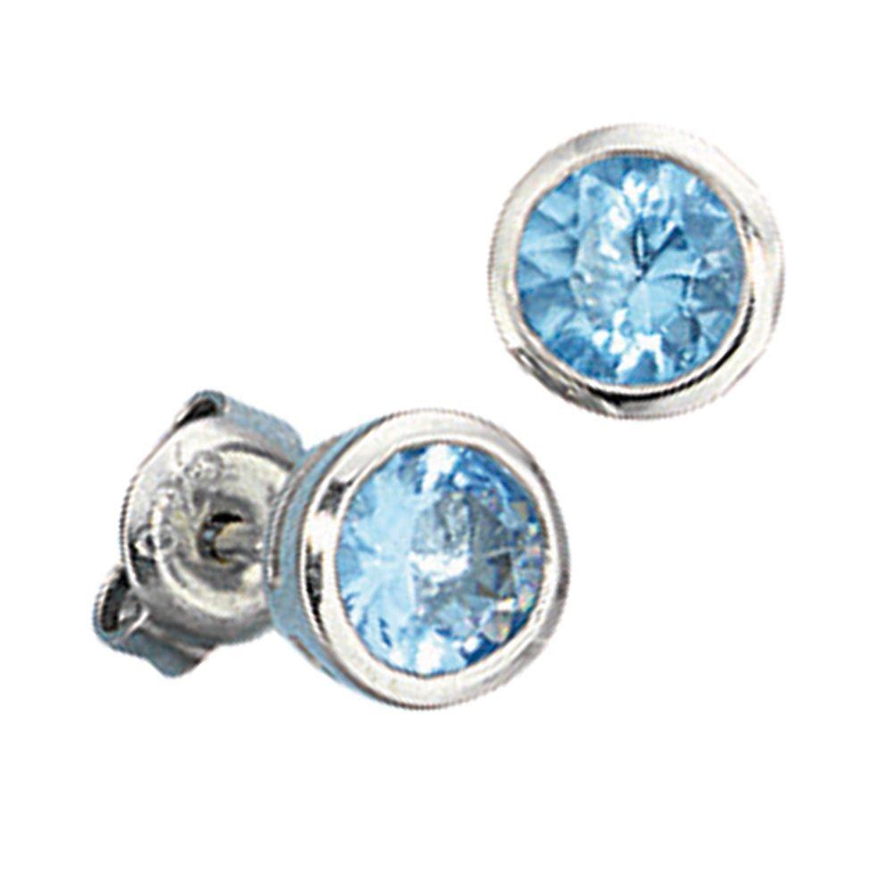 Silberschmuck ohrstecker  Ohrstecker rund, Ohrringe mit blauen Kristallen, 925 Sterling ...