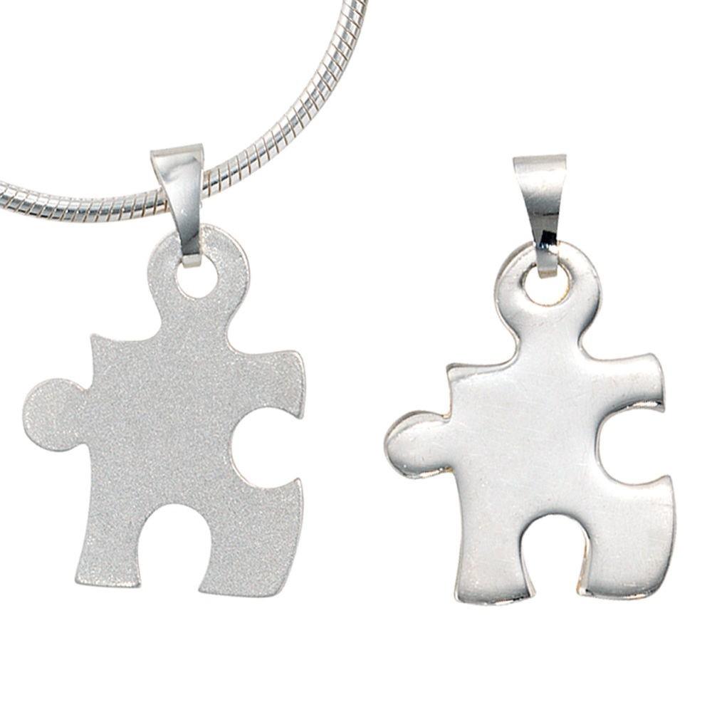 Kettenanhänger  Partner Anhänger Puzzle, 2-teilig aus 925 Sterling Silber ...