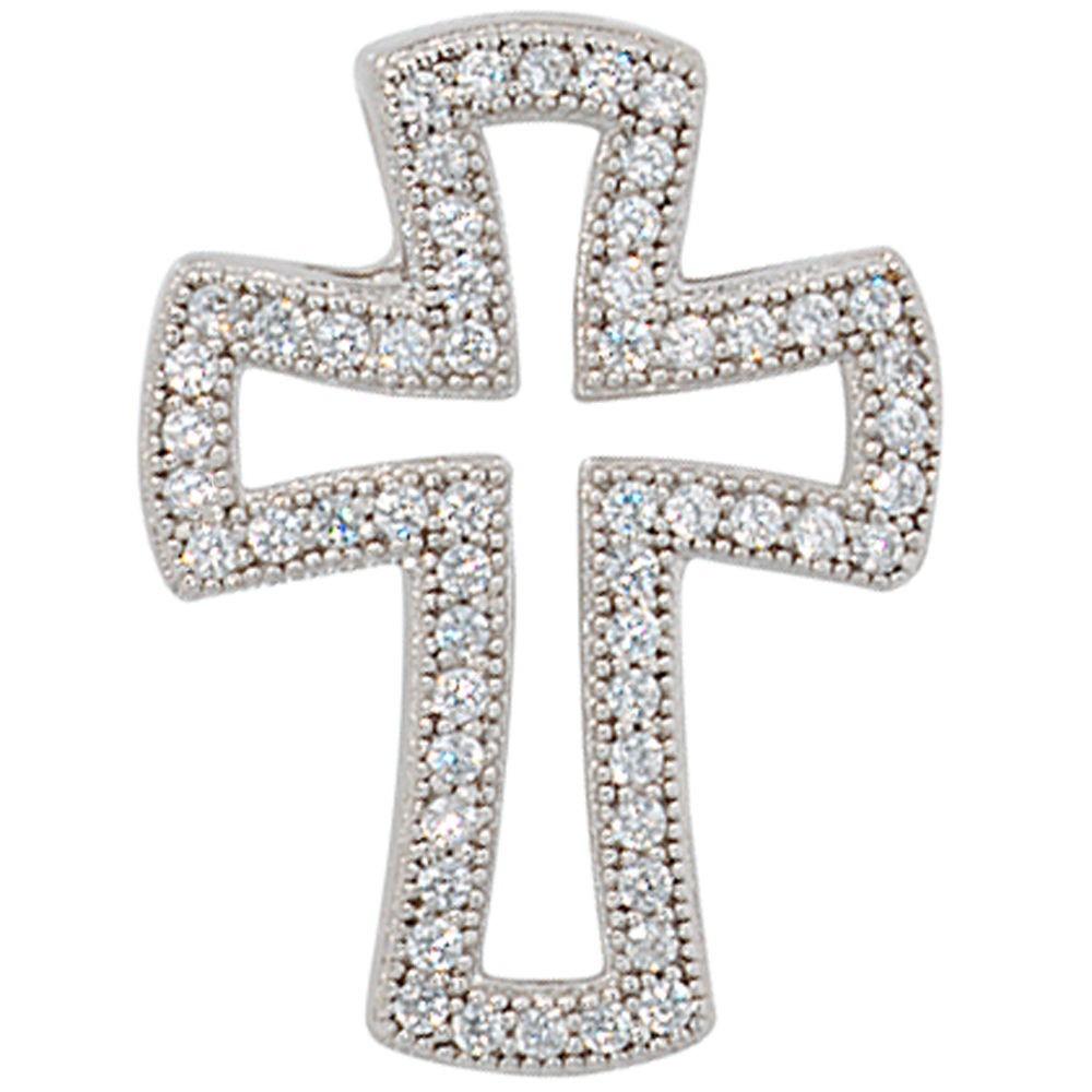 Anhänger Kreuz aus 925 Sterling Silber, mit Zirkonia