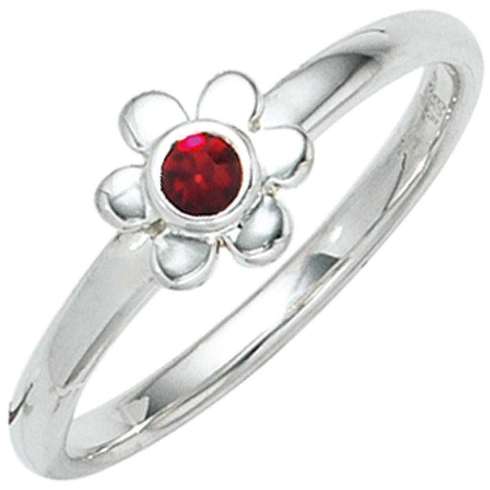 kinder ring blume 925 sterling silber rhodiniert 1 roter glasstein silberring kinderring. Black Bedroom Furniture Sets. Home Design Ideas